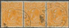 SG 56 ACSC 66(8)i. KGV Head ½d Orange strip of 3 (AHSUP/152)